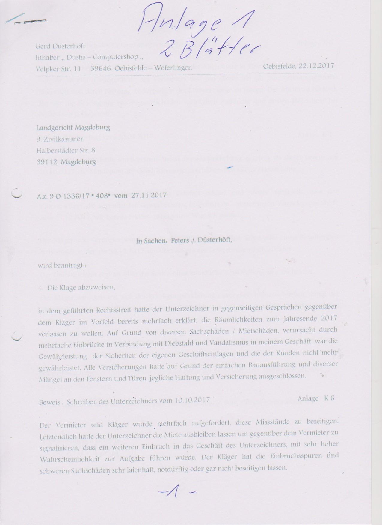 Klageerwiederung an Richtein Soehring vom Landgericht Magdeburg